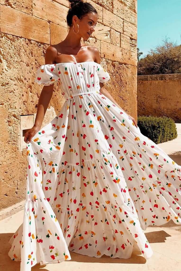 White Floral Print Off Shoulder Casual Maxi Dress Maxi Dresses Casual Maxi Dress Tube Top Dress [ 1146 x 764 Pixel ]