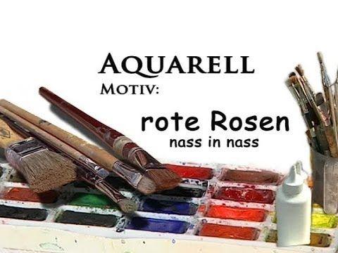 Aquarellmalerei Blumen Motiv Rote Rosen Nass In Nass