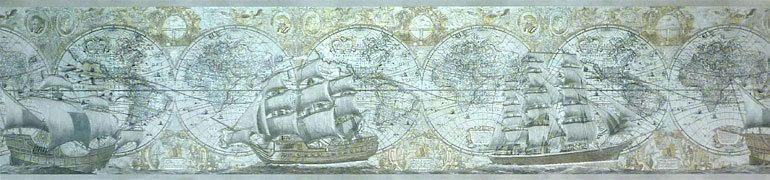 Nautical Old Map Sailing Ship Wallpaper Border Des57813