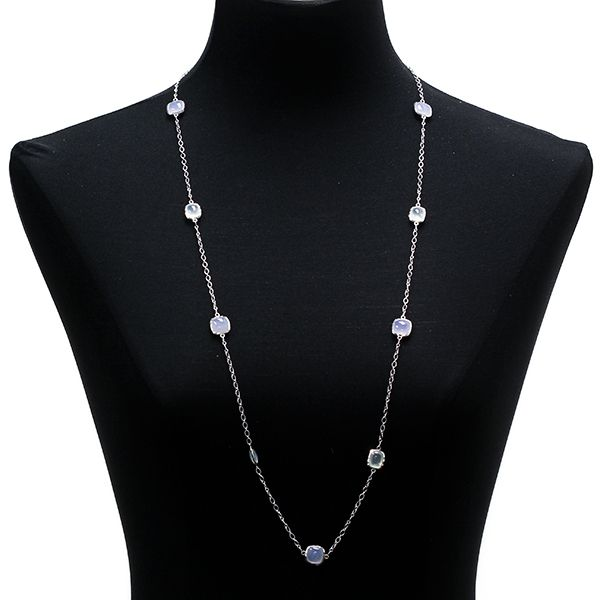 Lisa Bridge Chalcedony & Blue Lace Agate Station Necklace in Sterling Silver :: Ben Bridge Jeweler
