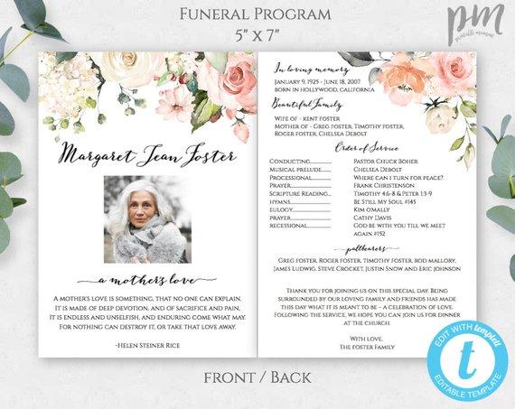 Funeral Program Template Funeral Template Program Obituary Etsy In 2021 Funeral Program Template Funeral Templates Funeral Programs