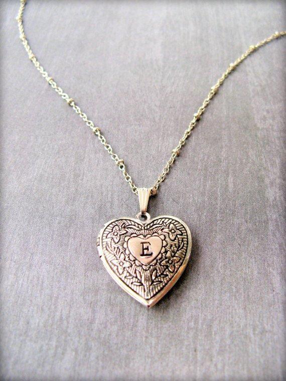 Heart Locket Personalized Silver Locket Necklace Photo