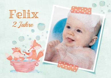 Süße Einladungskarte Zum 2. Geburtstag Mit Kleinen Füchsen In Badewanne