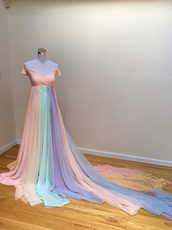 8af56ca1c Pastel Rainbow maternity gown rainbow baby dress rainbow | Dresses ...