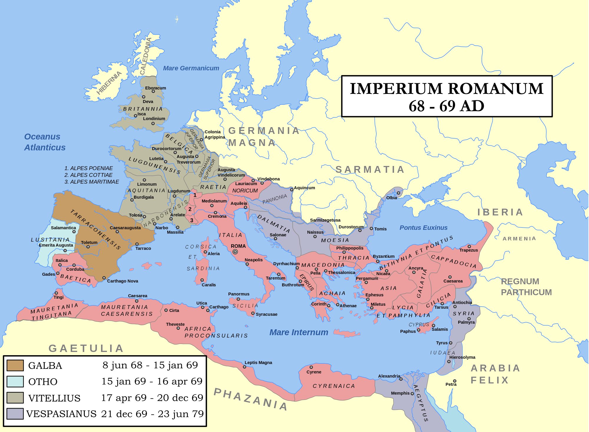 Map Year of the Four Emperors  Roman empire Emperor and Roman