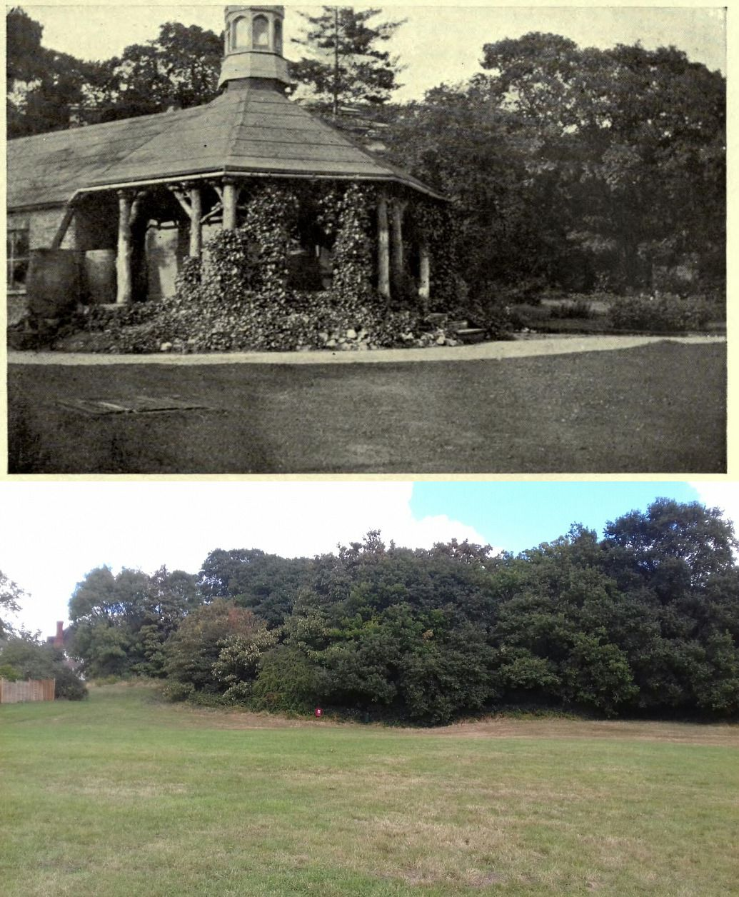 The Octagonal refreshment room Beulah Spa then and now