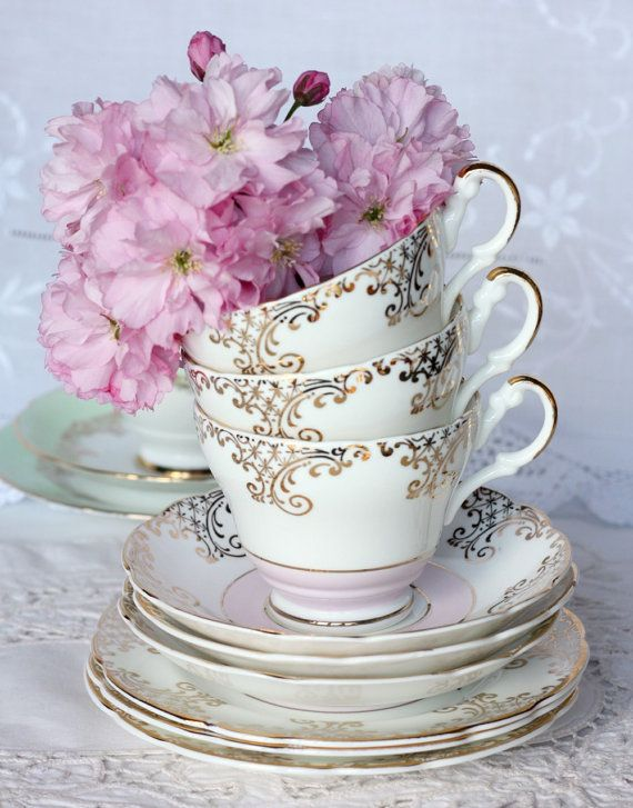 Baby pink and gold tea cup, saucer and plate, a lovely tea set for a baby shower or wedding, just perfect