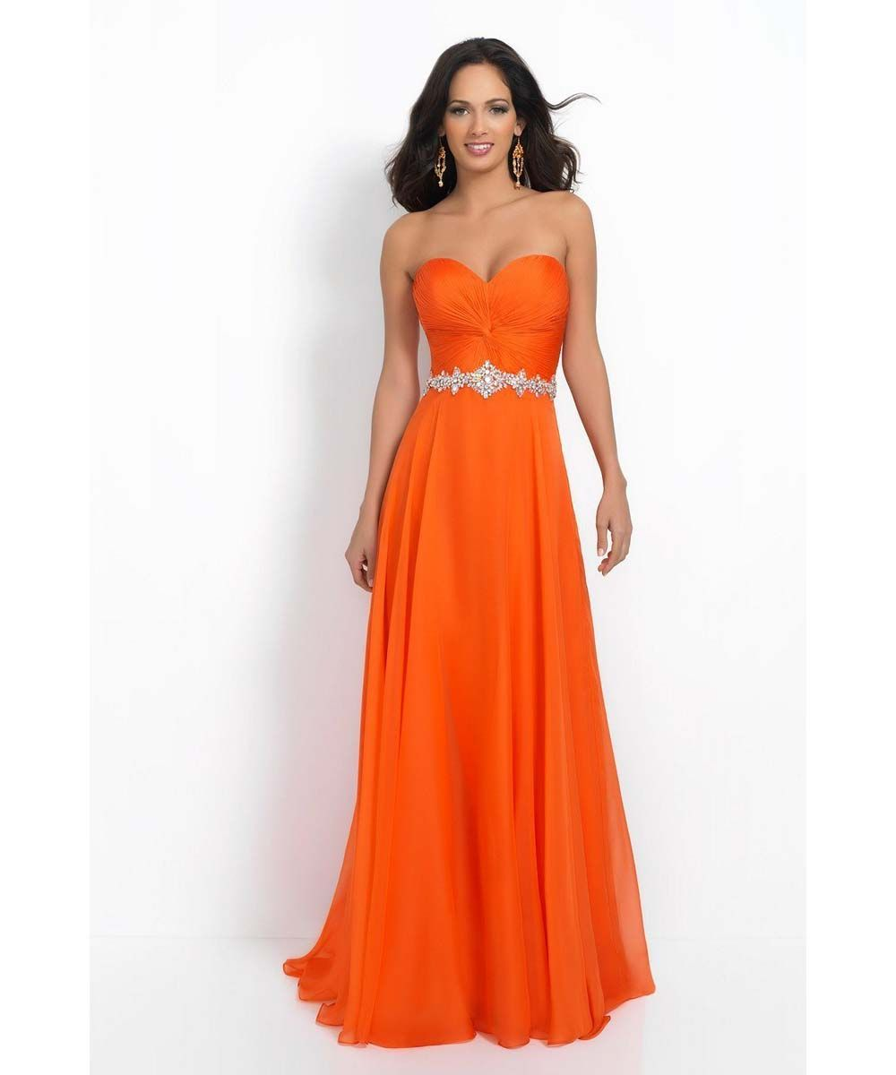 Orange Bridesmaid Dresses Sweetheart Skeeveless Backless Pleats Chiffon Aline Long In