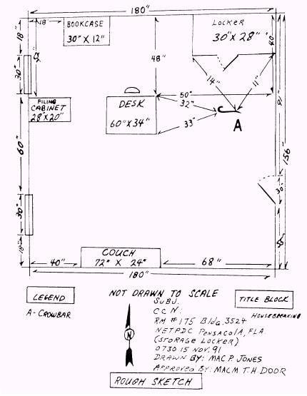 Scene Sketch And Triangulation Locker Storage File Cabinet Desk Forensics