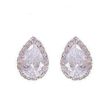 cc476d4f28b5 Pendientes De Cristal · Aretes · Серьги-пуссеты - Капля в огранке  Серебряный с белым камнем