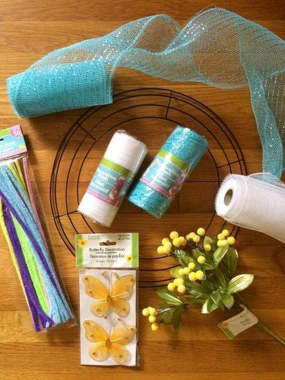 DIY Mesh Spring Wreath #decomeshwreaths