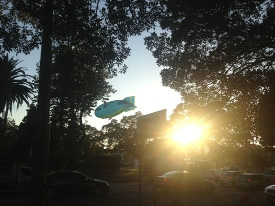 An airship over the Sydney Cricket Ground this morning: