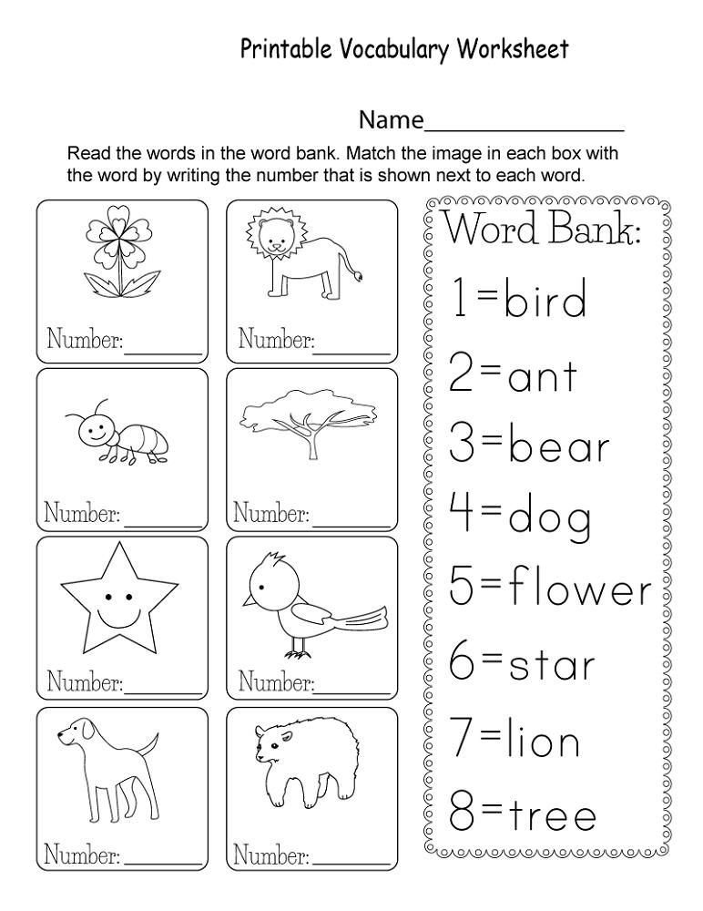 Printable Vocabulary Worksheet For Kids Vocabulary Worksheets, English  Worksheets For Kids, Kindergarten Vocabulary