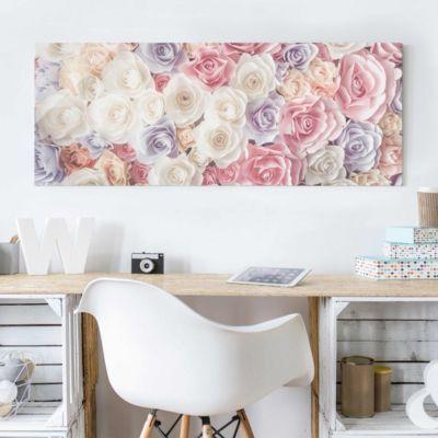 Glasbild - Pastell Paper Art Rosen - Panorama Quer - Blumenbild - glasbilder für badezimmer