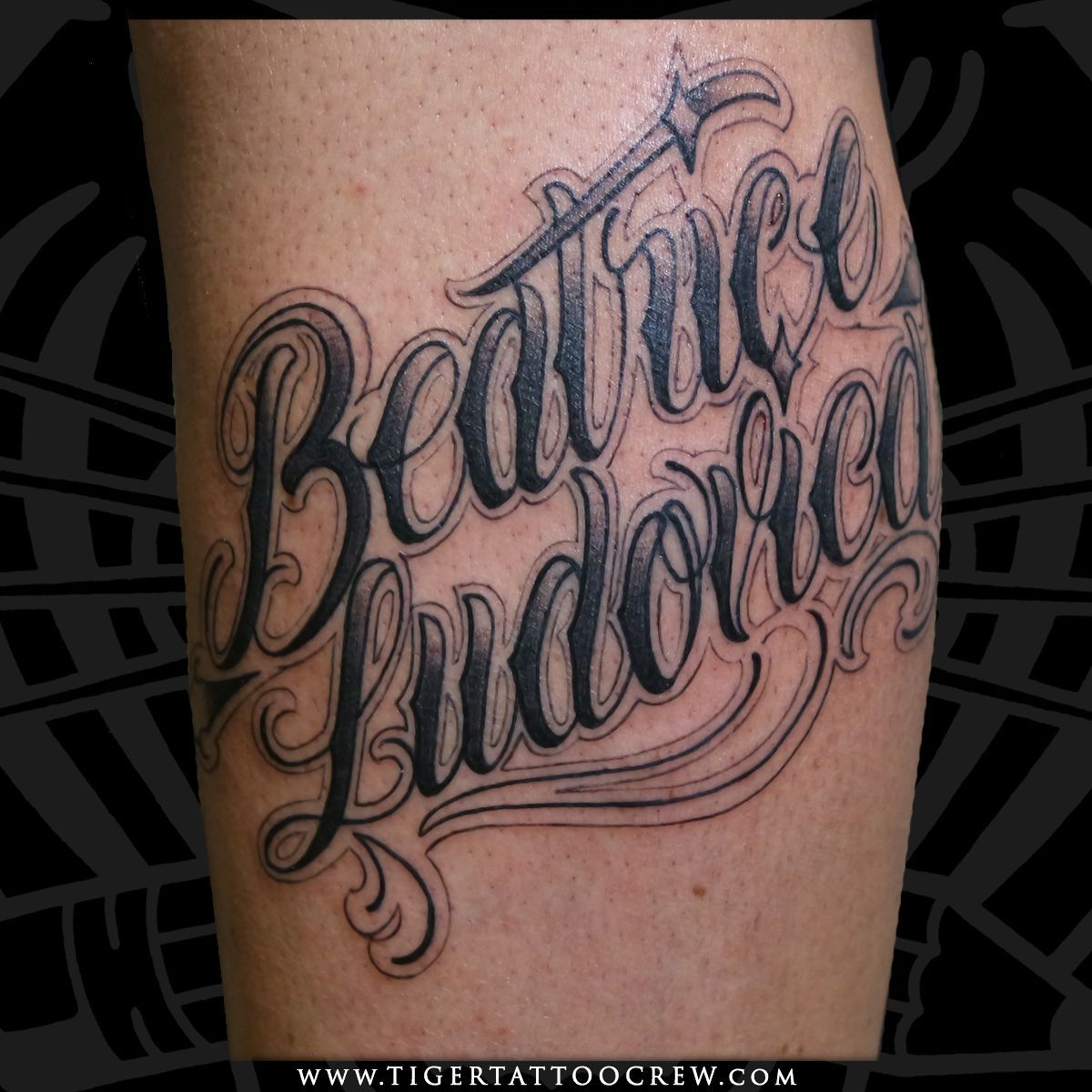 Beatrice/Ludovica lettering tattoo done by Angelo Scaglione …  – Tiger Tattoo …