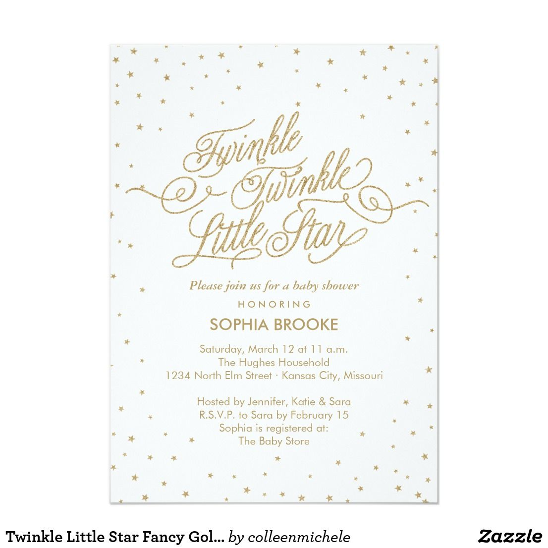Twinkle Little Star Fancy Gold & White Baby Shower Card   White baby ...