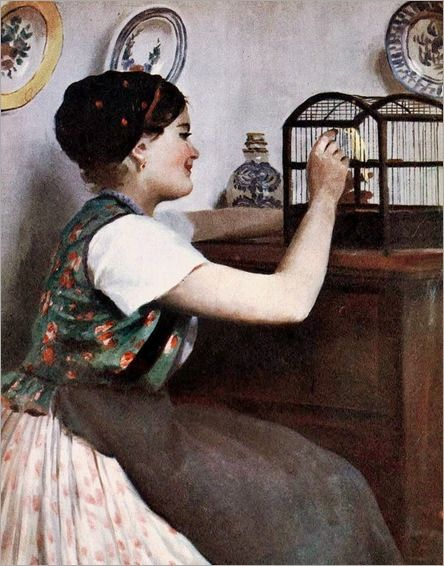 1900s Emile Pap (1884-1945) Woman with Bird