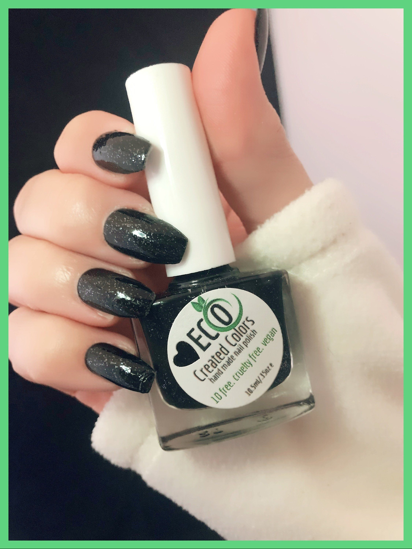 Black Glitter Nail Polish Glitter Nail Lacquer Winter Nights Etsy Black Nails With Glitter Nails Glitter Nail Polish
