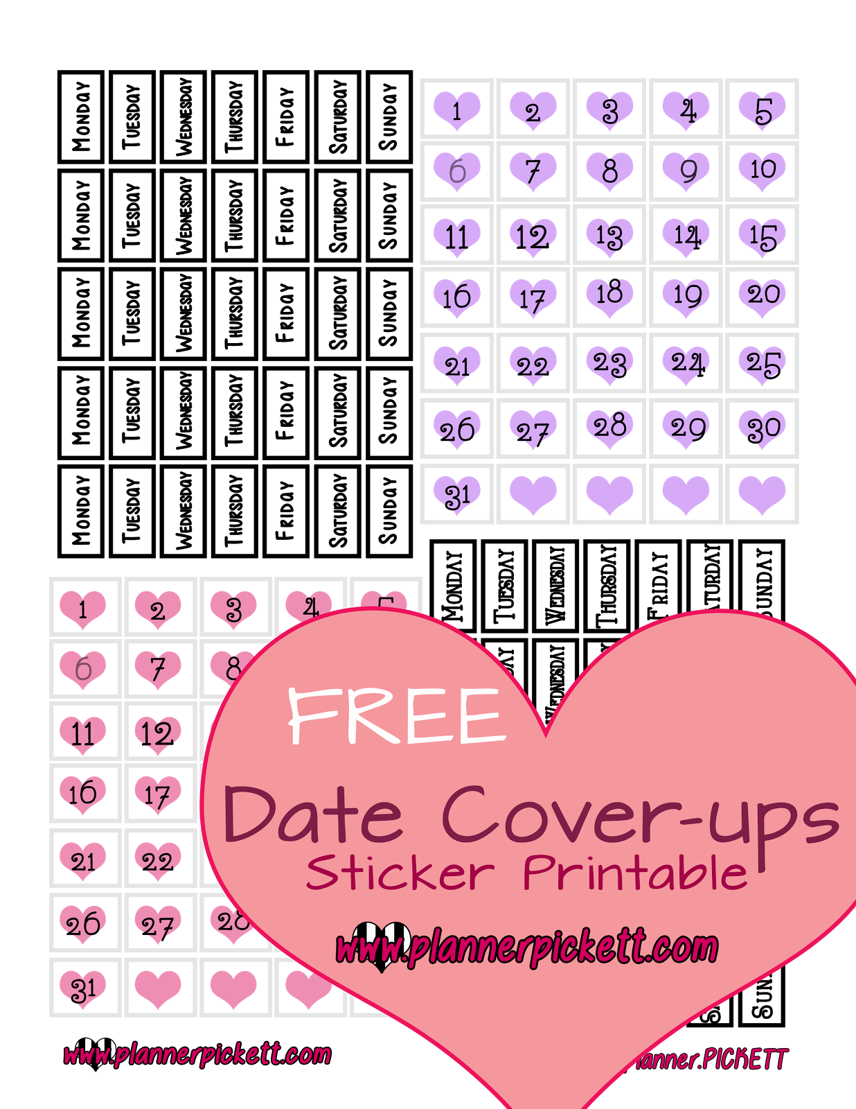 planner.PICKETT: Free Date Cover Printable Planner Stickers ...
