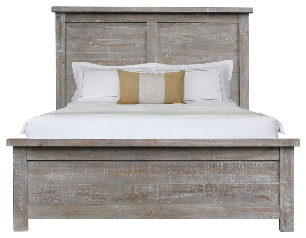 Denver gray farmhouse wooden platform bed king new