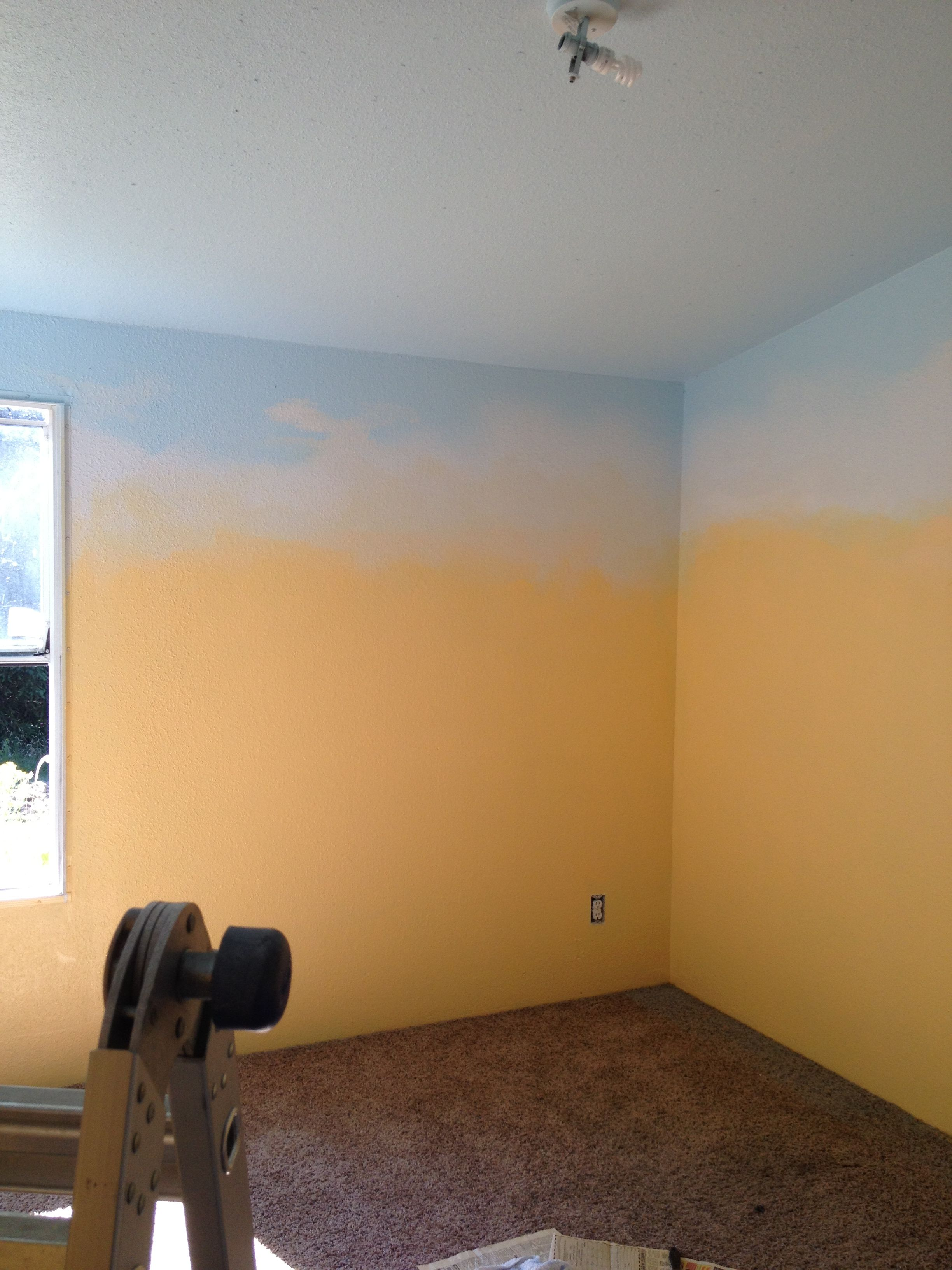 Paint Walls Yellow Paint Ceiling And Top Of Wall Blue Sponge White In The Middle Blend L Sponge Painting Walls Yellow Painted Rooms Black Painted Furniture