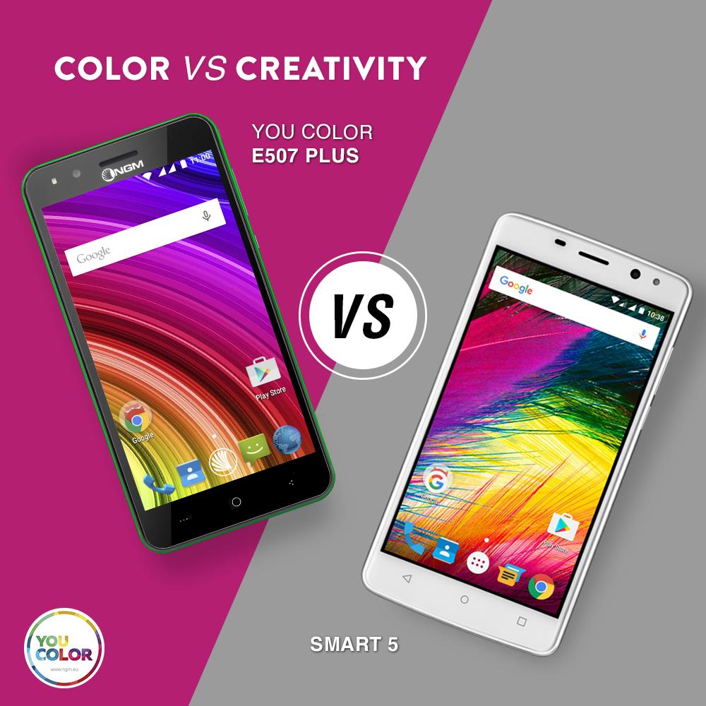 Color vs creativity: preferite il colore dello #YouColor #E507 Plus #green o la creatività dello #YouColor #Smart5? Scopri di più su www.ngm.eu