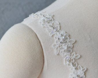Photo of Detachable Ivory or White Chiffon fabric Cap Sleeves to Add …
