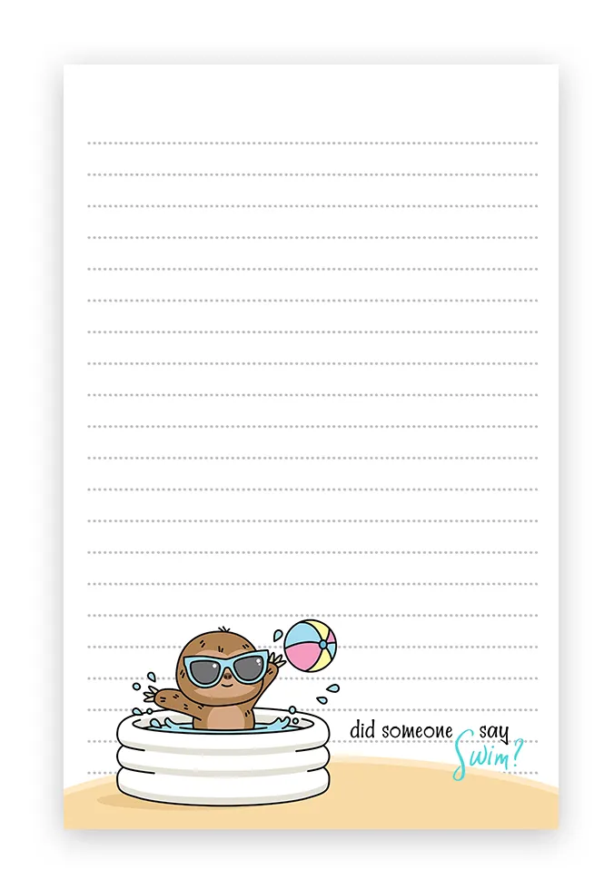 Summer Sloths Beach Theme Stationery Free Printable Free Printable Stationery Writing Paper Printable Stationery Printable Stationery