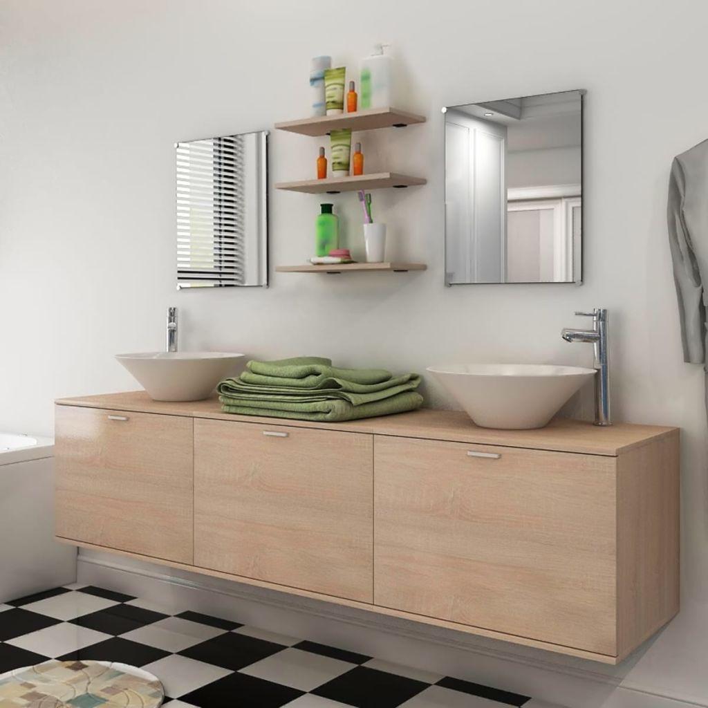 8 pi ces de mobilier de salle de bain et lavabo beige - Mobilier de salle de bain pas cher ...