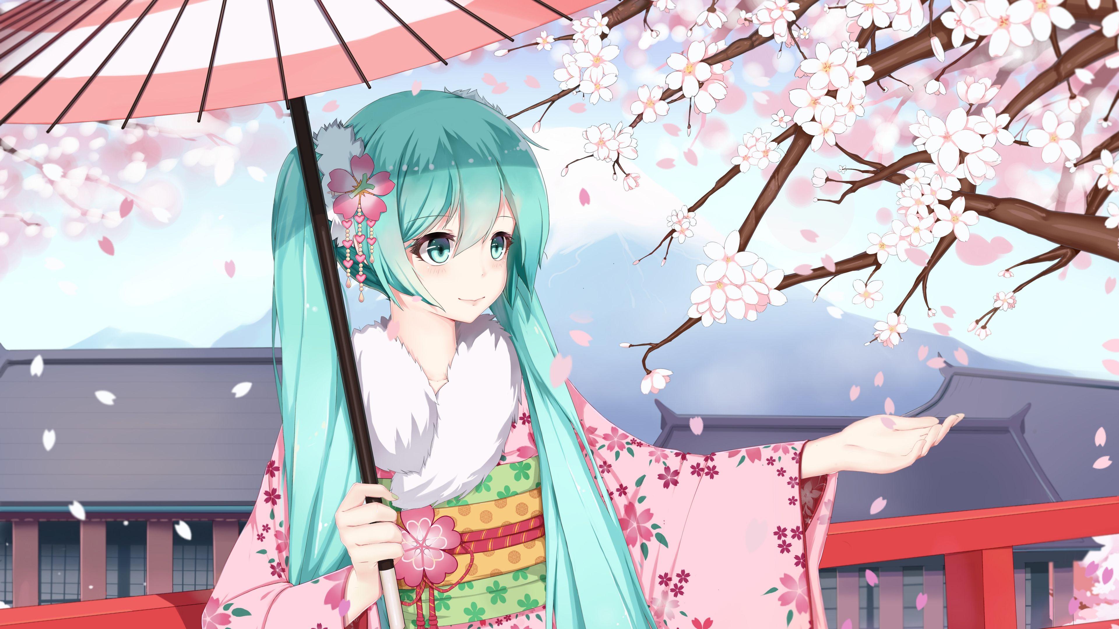 Sugar Sound Vocaloid Hatsune Miku Girl Kimono Sakura