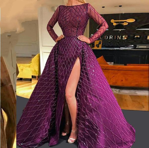 arabic purple long sleeve evening dress with detachable