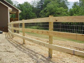 Wooden Fence With En Wire Images Backyard Fences