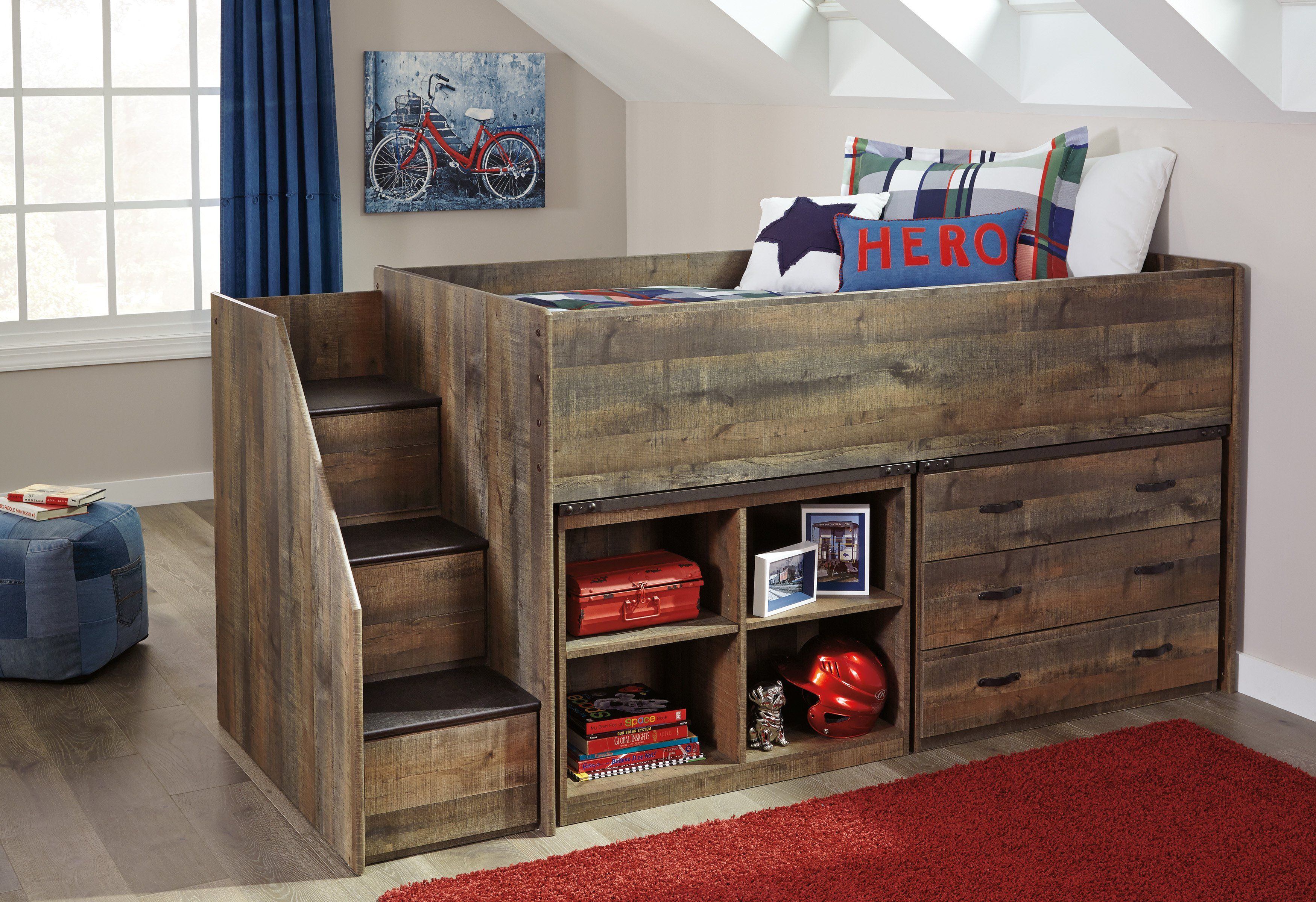 Best Trinell Youth Loft Bed Low Loft Beds Loft Bunk Beds 400 x 300