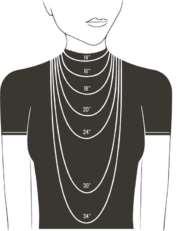 Collar De Cristal Corazón Plata Esterlina 14-22 pulgadas