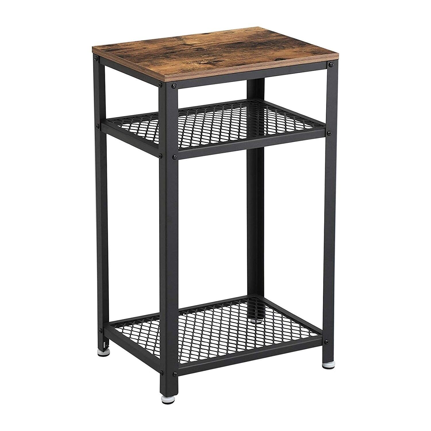 Industrial Style Iron And Wood Side Table With Two Tier Mesh Shelves Black And Brown Benzara Side Table Wood Industrial Side Table Wood End Tables
