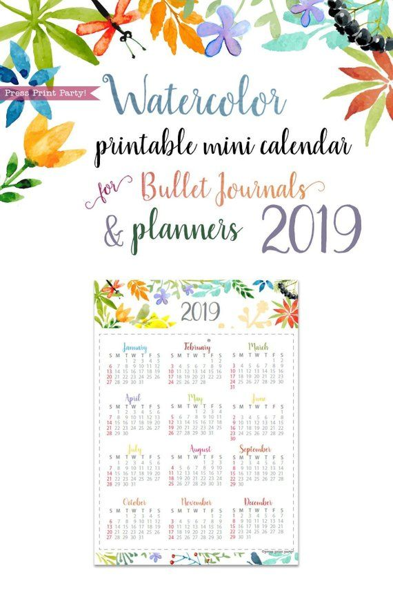 2019 Mini Calendar Printable, Watercolor, Bullet Journals  Planners
