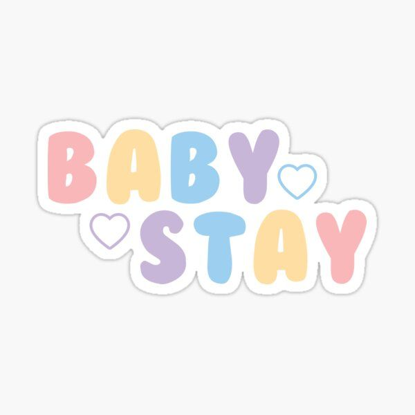 'STRAY KIDS - BABY STAY Pastel Quote Text PINK BLUE YELLOW PURPLE' Sticker by SugarSaint