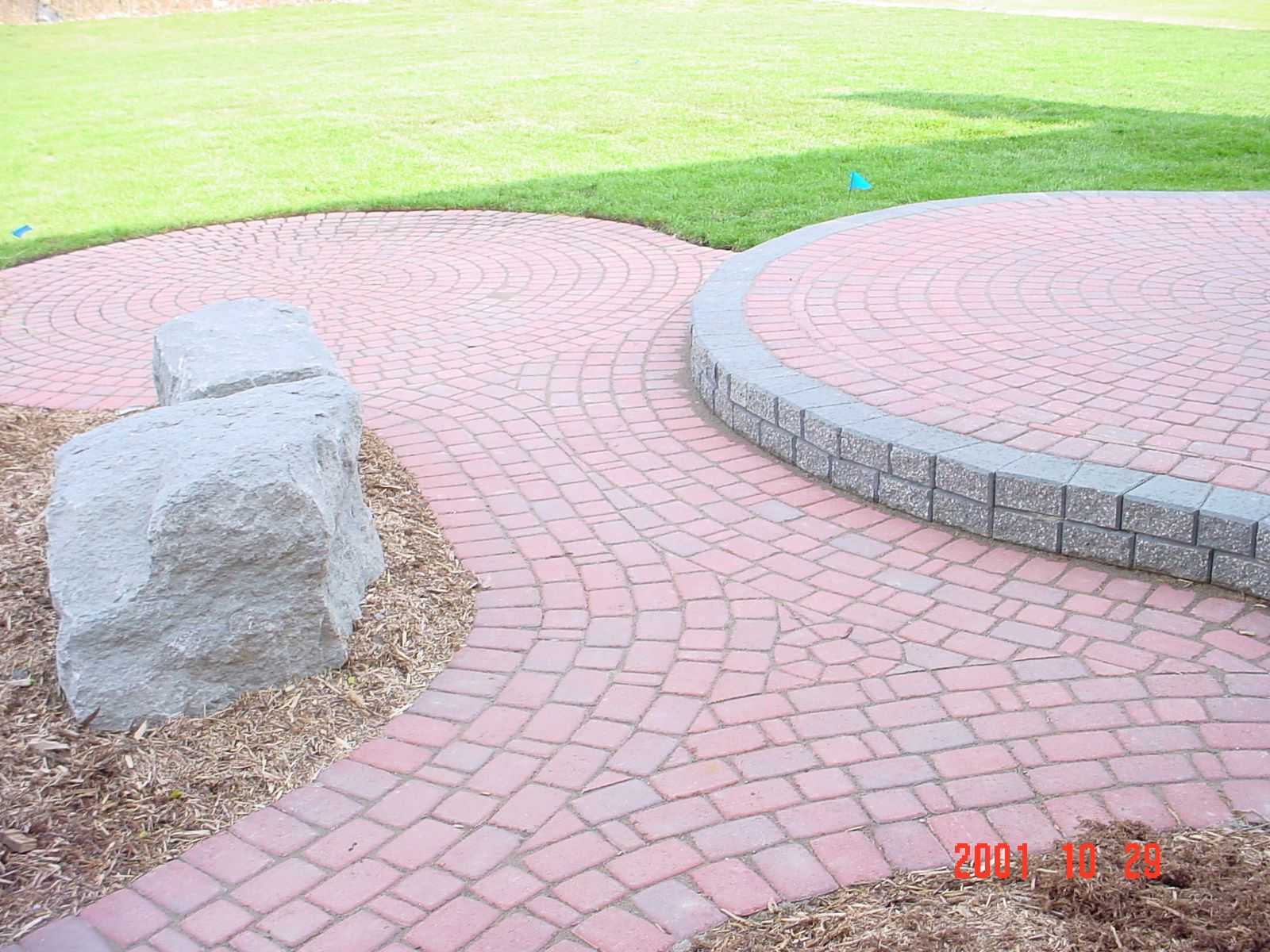red brick paver two tier patio red
