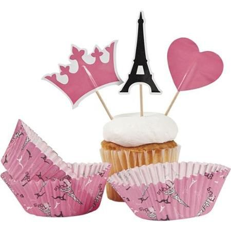 Paris Party Cupcake Cups W Picks 50 Pack