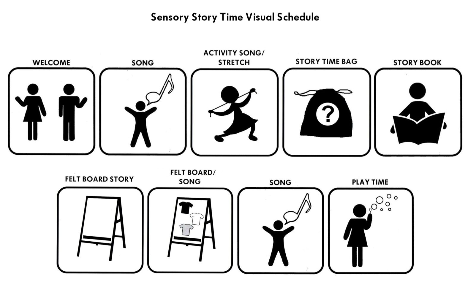 Great example of a visual schedule for StoryTime. Story