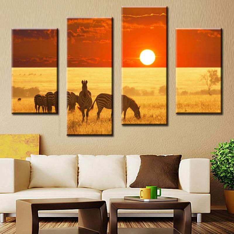 Home Decor Painting Wall Decoration of The Zebra Animal Walk on ...