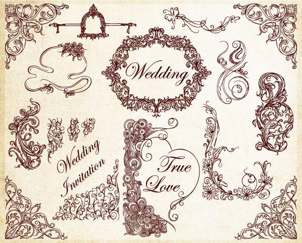 Ornamental wedding decoration elements vector pattern pinterest ornamental wedding decoration elements vector junglespirit Gallery
