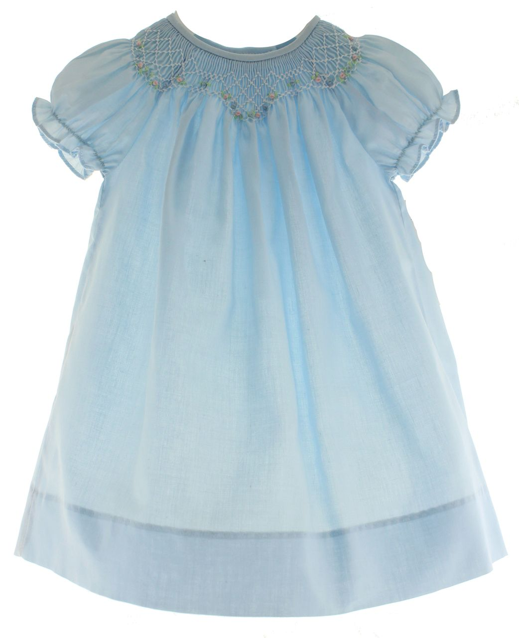 d4dd046fd Girls Blue Smocked Day Gown features English smocking and light pink  flowers   Rosalina, $36.00