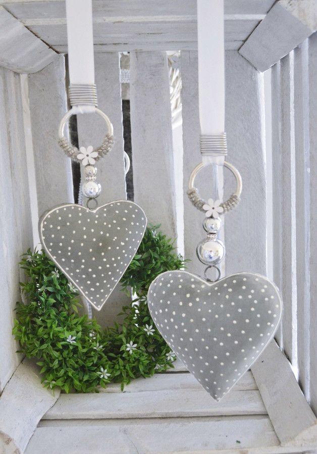 Photo of Vindusdekorasjon 2-sett hjerter gråhvit, 15 u. 11 cm – vindusdekorasjoner – hjemme …