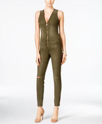 6b2b09413e9 GUESS Maxine Ripped Zip-Up Denim Jumpsuit