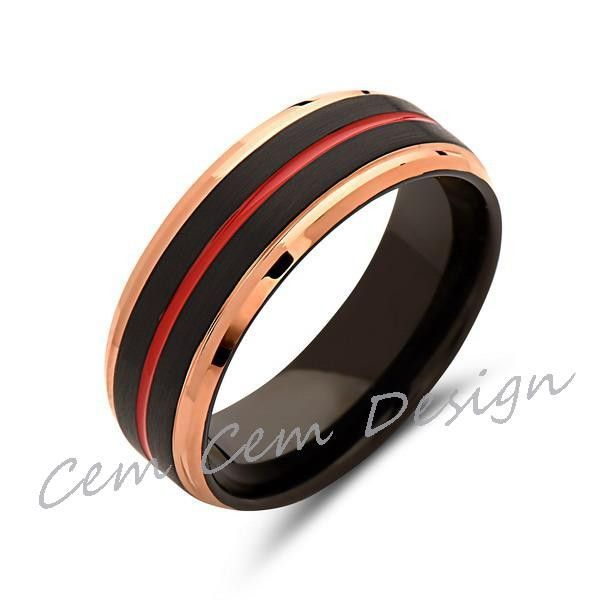 Red Tungsten Wedding Band Rose Gold Ring Black Brushed Tungsten Carbide 8mm Mens Ring Tungsten Carbide Engagement Band Wooden Rings Engagement Titanium Wedding Rings Beautiful Wedding Rings
