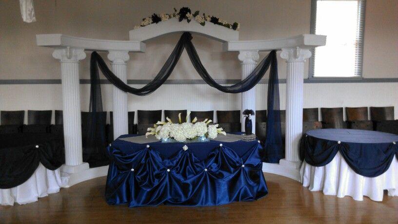 Navy Blue Wedding Bride And Groom Table Head Table Wedding
