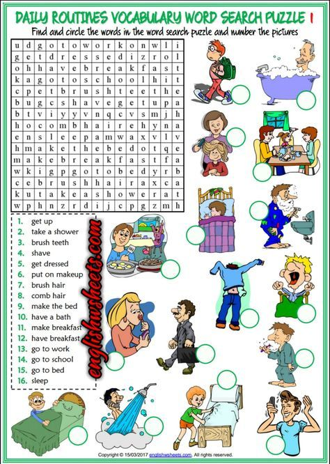 Daily Routines Esl Printable Word Search Puzzle Worksheets For Kids ...