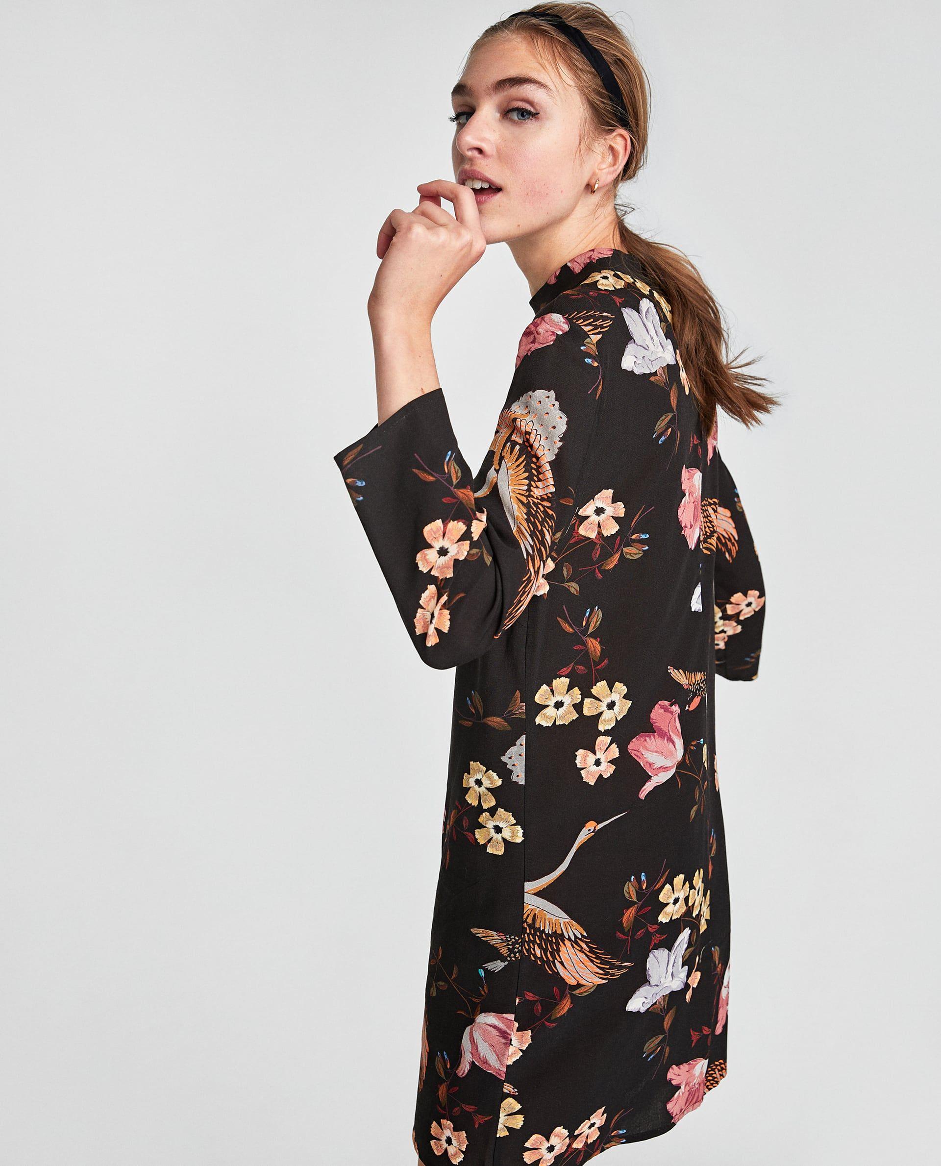 Zara kleid schwarz weiber kragen
