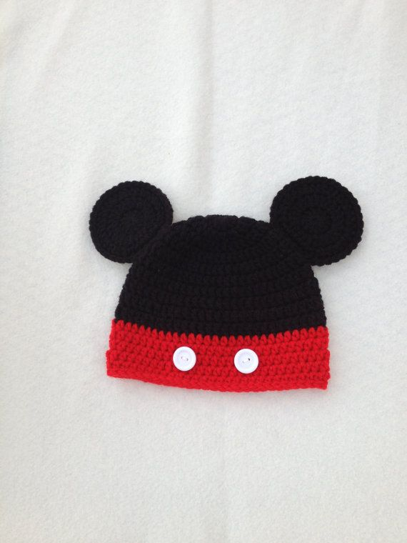 Crochet MICKEY HAT . Crochet Baby Hat . Beanie . Photo Prop . 6 to ...